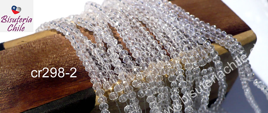 Cristal facetado transparente de 2 x 2 mm, tira de 190 cristales