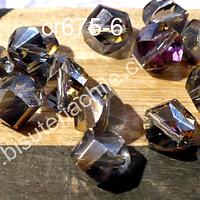 cristal tornasol y dorado,  10 mm, redondo con cortes hexagonal, tira de 20 unidades
