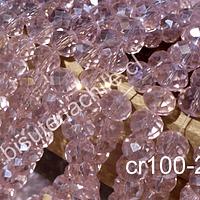 Cristal  rosado transparente de 8mm por 6mm, tira de 70 unidades aprox
