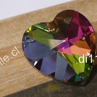 Corazón tornasol colgante, 22 x 22 mm, por unidad (con orificio para colgar)