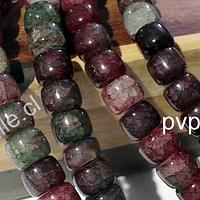 Vidrio imitación piedra en colores tierra, 8 x 9 mm, tira de 93 unidades de vidrio.