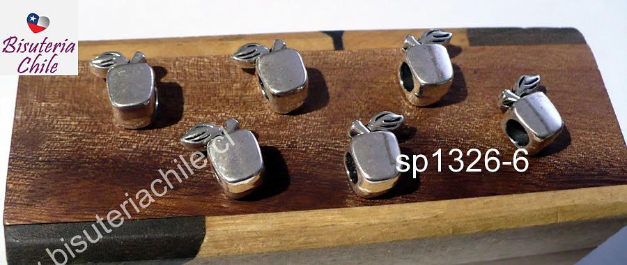 Separador plateado en forma de manzana, 7 x 7 mm, agujero de 4 mm, set de 6 unidades
