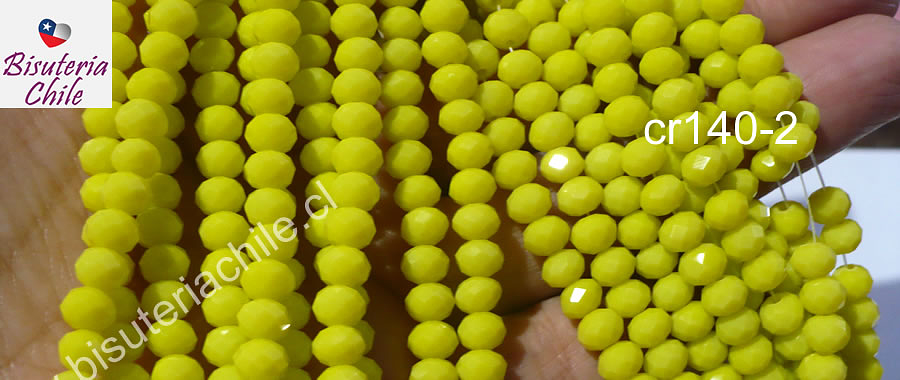 Cristal amarillo de 6 mm, tira de 90 unidades aprox