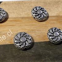 Separador plateado con diseño flor, 12 mm de diámetro, 3 mm de grosor, agujero de 1 mm, set de 7 unidades