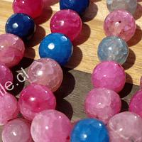 Ágata de 10 mm, en tonos celestes y rosados, tira de 38 piedras aprox