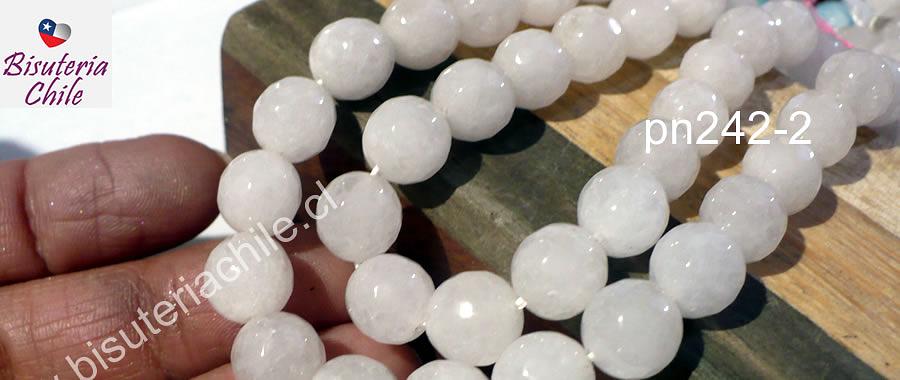 Agata blanca facetada, color blanco tira de 10 mm, tira de 37  piedras
