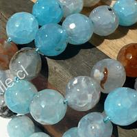 Ágata de 10 mm, en tonos celestes y café, tira de 38 piedras aprox