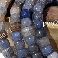 Vidrio imitación piedra en color celeste y café, 8 x 9 mm, tira de 93 unidades de vidrio