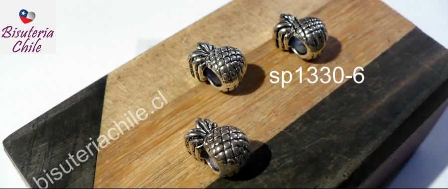 Separador plateado en forma de piña, 12 x 8 mm, agujero de 4 mm, set de 3 unidades