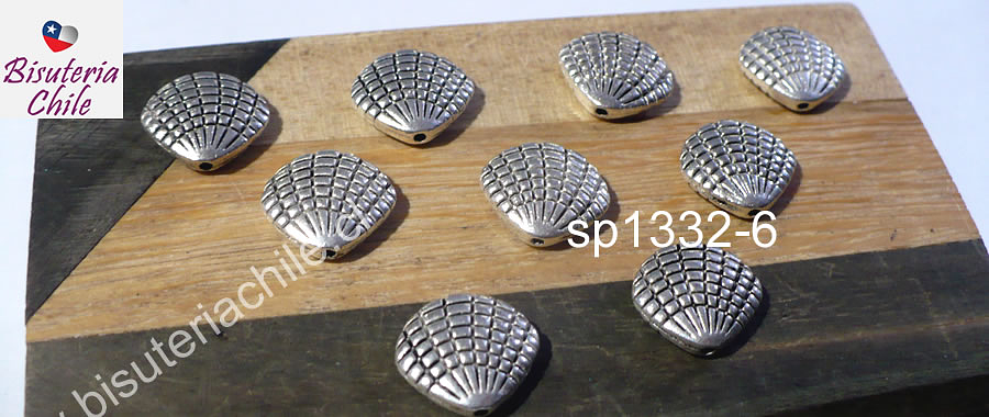 Separador plateado en forma de conchita, 8 x 11 mm agujero de 1 mm, set de 9 unidades