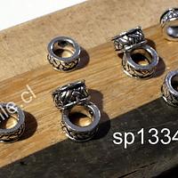 Separador plateado, 8 x 4 mm, agujero de 5 mm, set de 8 unidades