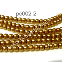 Perla Checha color dorado de 3 mm, muy buena calidad, tira de 150 perlas aprox