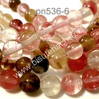 cuarzo turmalinado color sandia, 6 mm, tira de 63 piedras aprox.