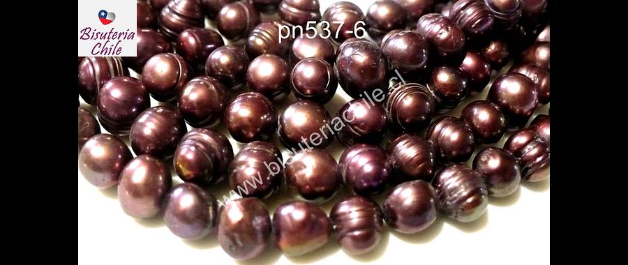 Perla de río color rosa oscuro, 8 mm, tira de 53 piedras aprox.