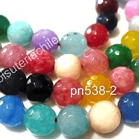 Agata 8 mm, multicolor, tira de 48 piedras
