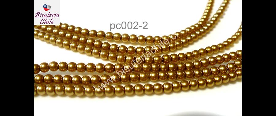 Perla Checha color dorado de 4 mm, muy buena calidad, tira de 120 perlas aprox