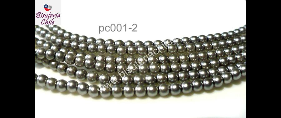 Perla Checa color plateado de 4 mm, muy buena calidad, tira de 90 perlas aprox