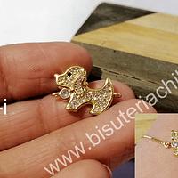 Dije perrito doble conexión zirconita micro pavé alta calidad, en color dorado, 21 x 13 mm, por unidad (no incluye la cadena)