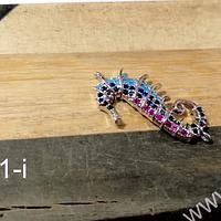 Caballo de mar doble conexion, zirconia micro pavé, 27,9 x 14,2 por unidad