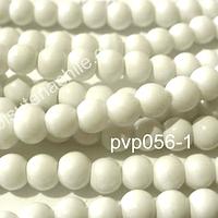 Perla de vidrio blanco, 6 mm, tira de 140 perlas