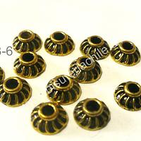 Casquete dorado envejecido, 7 mm de diámetro, set de 12 unidades