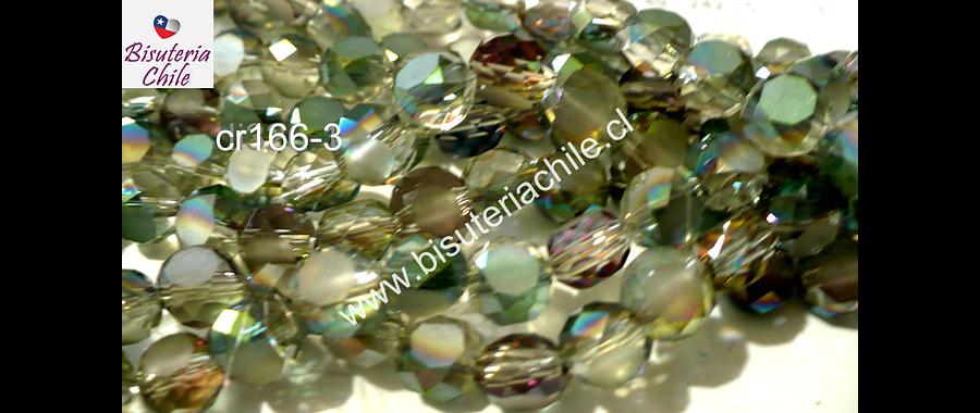 Cristal facetado tornasol achatado 8mm de diámetro por 8 mm de ancho, tira de 35 unidades