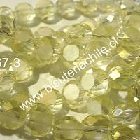 Cristal facetado amarillo achatado 8mm de diámetro  tira de 35 unidades