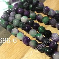 Agata de 6 mm facetada en tonos verdes y lilas, tira de 62 piedras aprox