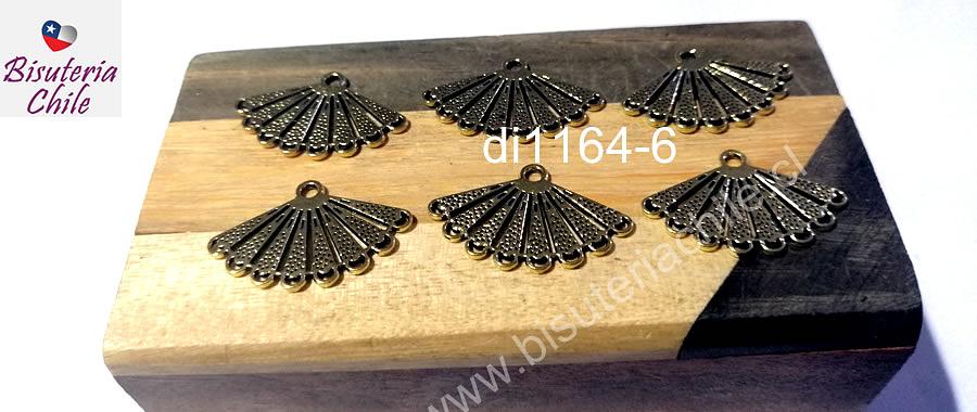 Dije o base de aro en forma de abanico dorado, 25 x 17 mm, set de 6 unidades