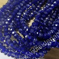 Cristal facetado tornasol color azul de 4 mm, tira de 145 cristale