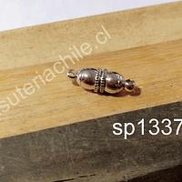 Broche imán, plateado, 17 x 5 mm, por unidad
