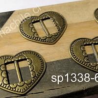 Separador con diseño corazón, envejecido, 22 x 22 mm, set de 4 unidades
