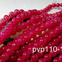 Perla de vidrio color fucsia 8 mm, tira de 100 unidades aprox