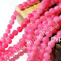 Perla de vidrio pintado 8 mm color rosado tira de 105 unidades