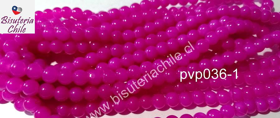 Perla de vidrio color fucsia, tira de 100' unidades aprox