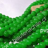 Perla de vidrio 8 mm color verde, tira de 54 perlas aprox
