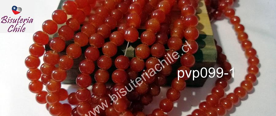 Perla de vidrio color naranjo 8 mm, tira de 54 unidades aprox