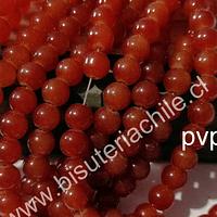 Perla de vidrio color naranjo 8 mm, tira de 100 unidades aprox