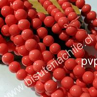 Perla  8 mm color naranjo, tira de 53 perlas aprox.