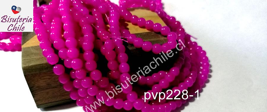 Perla de vidrio fucsia, 6 mm, tira de 72 unidades aprox