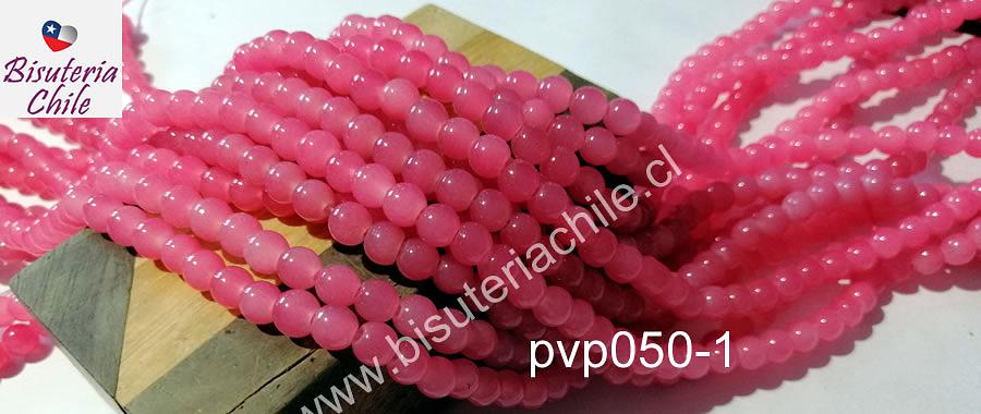 Perla de vidrio 6 mm  color rosado, tira de 138 piedras aprox