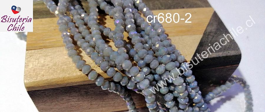Cristal facetado gris con brillos tornasolde 4 mm, tira de 145 cristales
