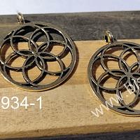 Colgante dorado, 30 mm de diámetro, set de 2 unidades