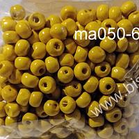Cuenta de madera color amarillo 6 mm, bolsa de 25 grs.