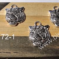 Dije plateado en forma de tigre, 18 x 17 mm, set de 3 unidades