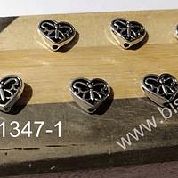 Separador plateado en forma de corazón, 11 x 10 mm, set de 8 unidades