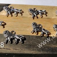 Dije plateado en forma de león, 17 x 12 mm, set de 7 unidades