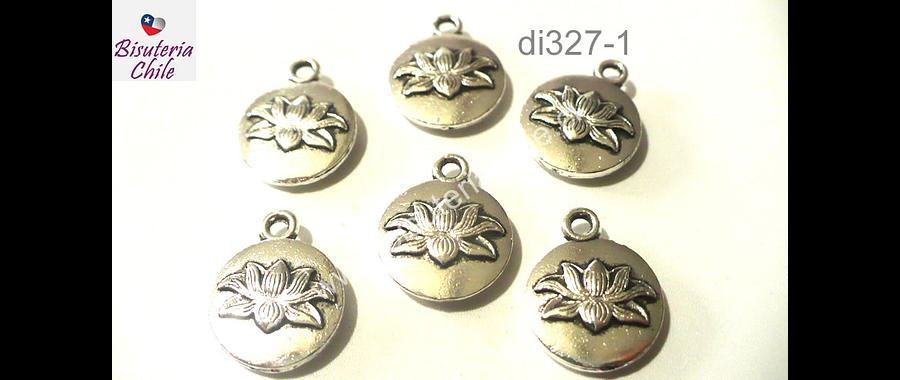 dije plateado flor de loto, 13 mm de diámetro, set de 6 unidades