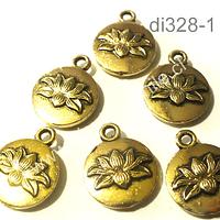 dije dorado flor de loto, 13 mm de diámetro, set de 6 unidades