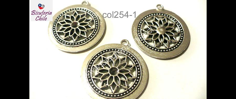 Colgante plateado con diseño  flor, 26 mm de diámetro, set de 3 unidades